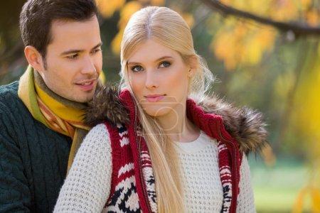 Woman with boyfriend in park