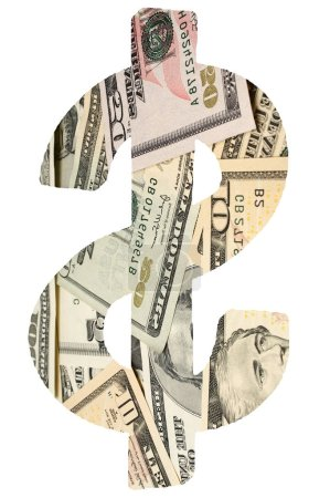 Banknotes in dollar sign