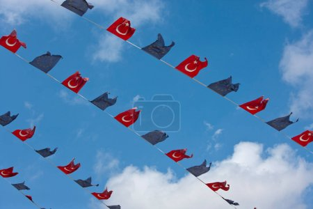 Photo for Close up view of Turkish and EU flags against clear sky - Royalty Free Image