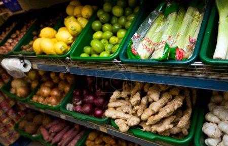 Various vegetables in grocery store