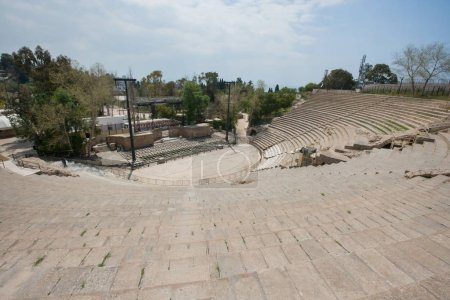 High angle view of roman amphitheater