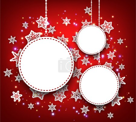 Winter background with round banners.