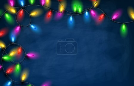 Christmas garland lights background.