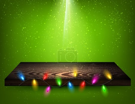 Christmas background with wooden shelf.