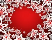 Red winter background with snowflakes Vector illustration