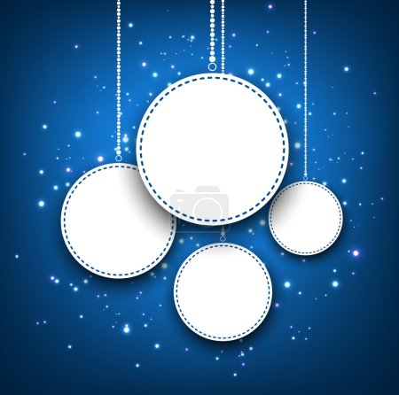 Illustration for Blue winter round banners background with snowflakes. Vector illustration. - Royalty Free Image