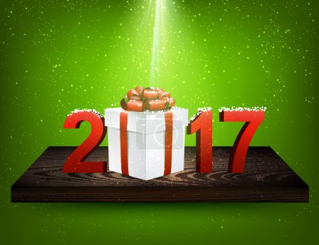 Green 2017 background with gift box.