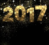 2017 New Year black and golden background Vector illustration