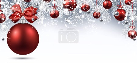 Holiday banner with Christmas balls