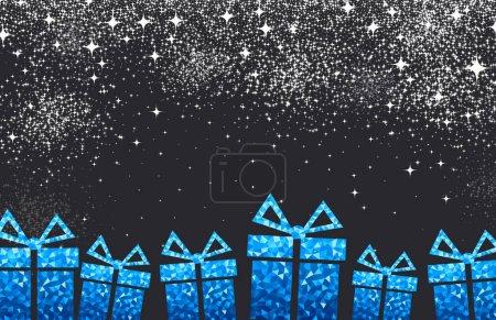 Illustration pour Illustration vectorielle de cadeaux de Noël sur fond de fête noir - image libre de droit