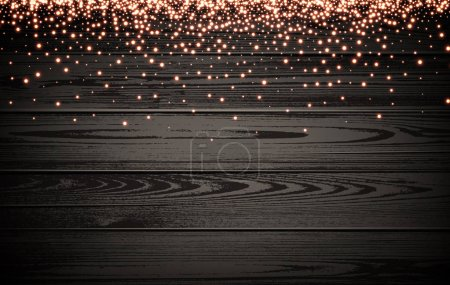 Wooden Christmas luminous background.
