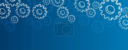 Illustration for Blue settings banner with silhouettes of gears. Vector illustration. - Royalty Free Image