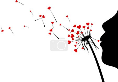 Valentine's background with love dandelions.