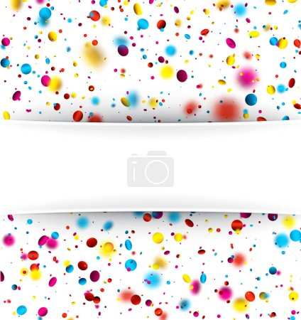 Festive background with colorful confetti.