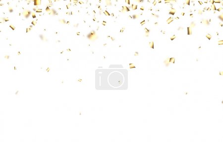 Festive background with golden confetti.