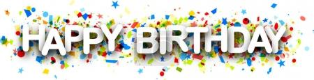 Illustration for Happy birthday paper banner with colorful confetti. Vector holiday illustration - Royalty Free Image