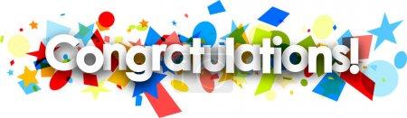 Congratulations paper banner with confetti