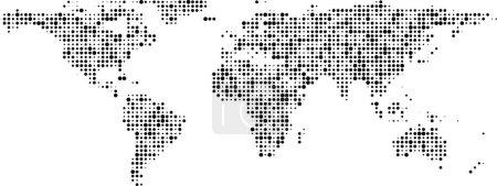 Illustration pour Carte du monde de communication de bannière à pois noirs. Illustration vectorielle . - image libre de droit