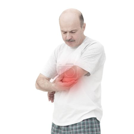 elderly man received a wrist injury while playing sports