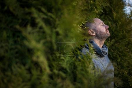 A bald man in a warm sweater is resting, leaning against the trees