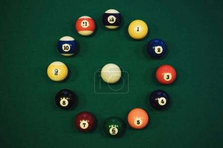pool balls in circle like a clock face