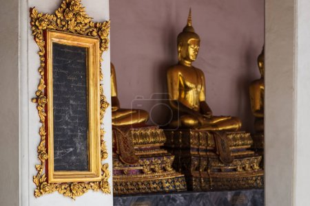 BANGKOK, THAILAND - OCTOBER 31, 2017: Wat Pho temple inside. Tablets with knowledges. First open university of Siam.
