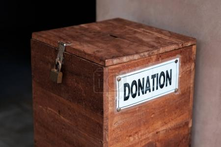 A box for donations in temple.