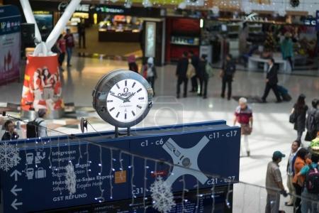 Kuala Lumpur, Malaysia - December 06, 2017: Inside of Kuala Lumpur International Airports terminal and time scoreboard