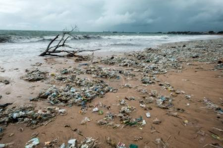 Bali, Indonesia - December 19, 2017: Garbage on beach, environmental pollution in Bali Indonesia.