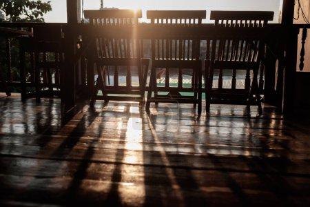 Empty summer morning cafe. Nobody inside.