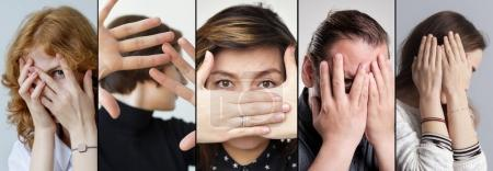Set of people that are hiding their face with fingers.