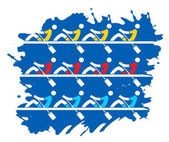 Stylized drawing rowing race on the grunge backgroundVector available