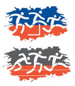 Colorful abstract stylized illustration of running race on grunge background Vector available