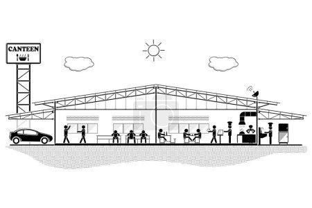 Illustration pour Bâtiment de cantine, section de structure pour cantine, illustration vectorielle - image libre de droit