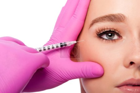 Beauty collagen filler injection in crows feet at eye