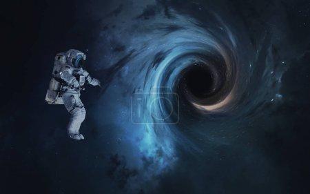 Photo pour Trou noir et l'astronaute. Fond d'écran espace abstrait. Univers rempli d'étoiles, des nébuleuses, des galaxies et des planètes. Éléments de cette image fournie par la Nasa - image libre de droit