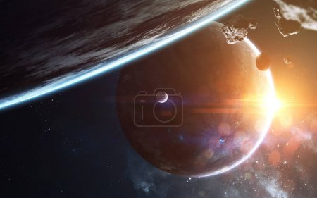 Photo for Cosmic landscape, beautiful science fiction wallpaper with endless deep space. Elements of this image furnished by NASA - Royalty Free Image