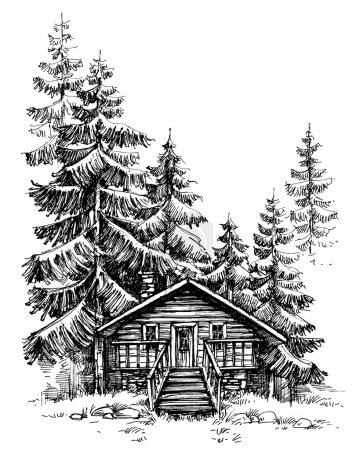 A wooden cabin in the pine forest. Idyllic winter landscape