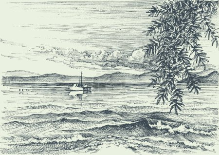 Illustration for Calm sea view etching, an olive tree on shore - Royalty Free Image