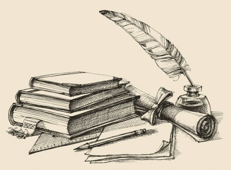 Illustration for Stack of books, paper, pencil, scroll, quill pen and ink. Diploma, certificate, school, study, writing, literature, library design in vintage style - Royalty Free Image