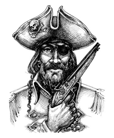 Pirate holding a gun portrait drawing...