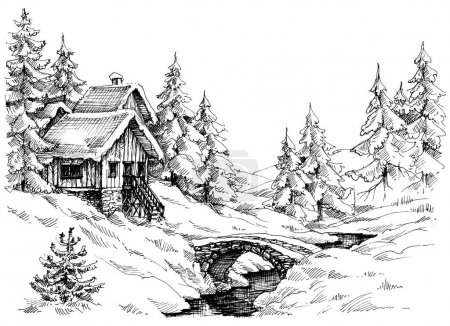 Illustration for Mountain cabin in the woods near river. Idyllic landscape - Royalty Free Image