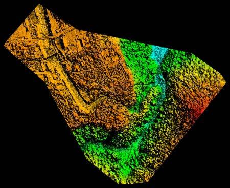 Photo pour Modèle altimétriques numériques aériennes à haute résolution utilisée pour ordinateur assistée par système d'Information géographique - image libre de droit