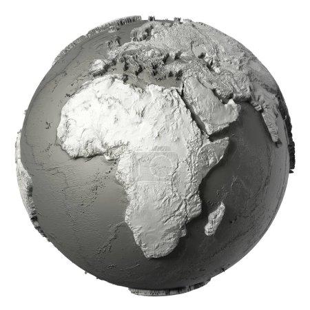 Photo pour Modèle Globe avec topographie détaillée sans eau. L'Afrique. rendu 3d isolé sur fond blanc. Éléments de cette image fournis par la NASA - image libre de droit