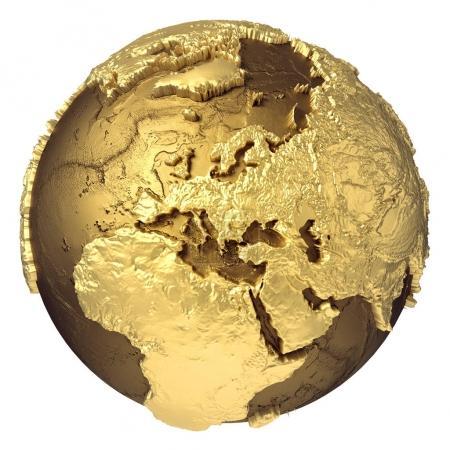 Photo pour Modèle globe doré sans eau. L'Europe. rendu 3d isolé sur fond blanc. Éléments de cette image fournis par NAS - image libre de droit