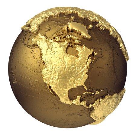 Photo pour Modèle globe doré sans eau. Amérique du Nord. rendu 3d isolé sur fond blanc. Éléments de cette image fournis par NAS - image libre de droit