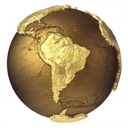 Photo pour Modèle globe doré sans eau. Amérique du Sud. rendu 3d isolé sur fond blanc. Éléments de cette image fournis par NAS - image libre de droit