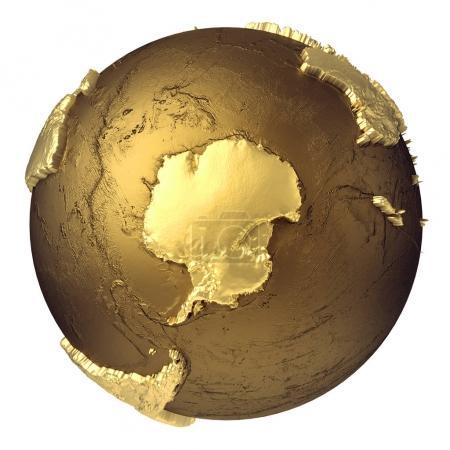 Photo pour Modèle globe doré sans eau. Antarctique. rendu 3d isolé sur fond blanc. Éléments de cette image fournis par la NASA - image libre de droit