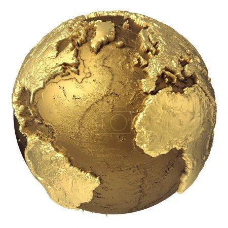 Photo pour Modèle globe doré sans eau. Océan Atlantique, Europe, Afrique, Amérique du Nord et du Sud. rendu 3d isolé sur fond blanc. Éléments de cette image fournis par la NASA - image libre de droit