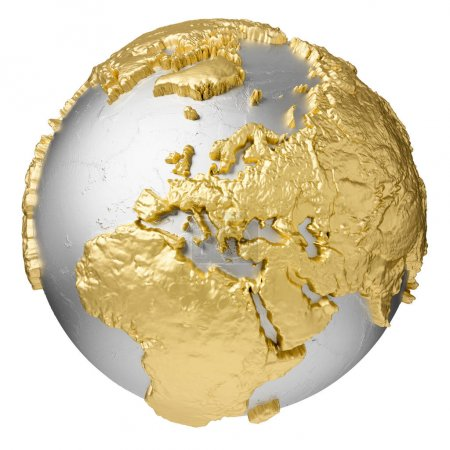 Photo pour Or, globe d'argent sans eau. L'Europe. rendu 3d isolé sur fond blanc. Éléments de cette image fournis par la NASA - image libre de droit